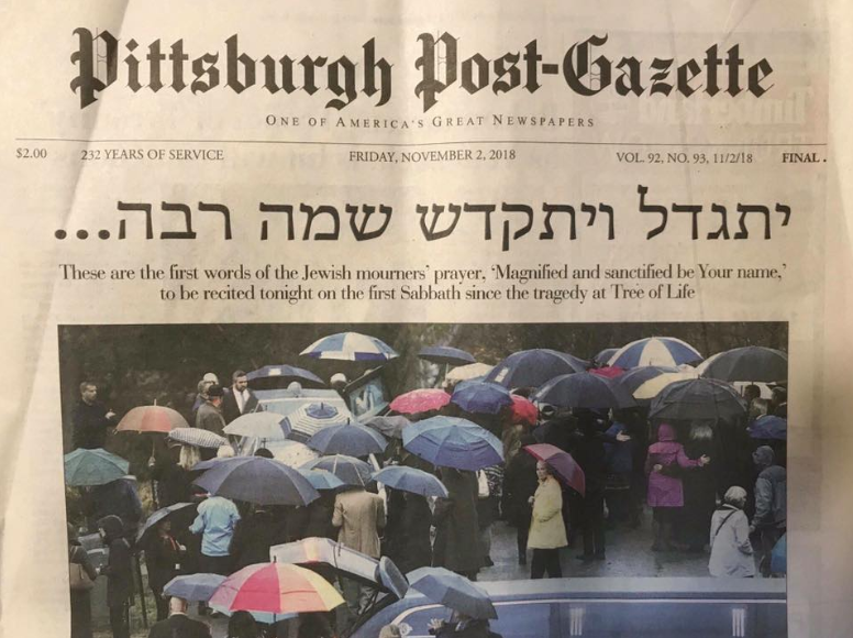 Pittsburgh Post Gazette Headline Jewish Mourners Prayer Kaddish