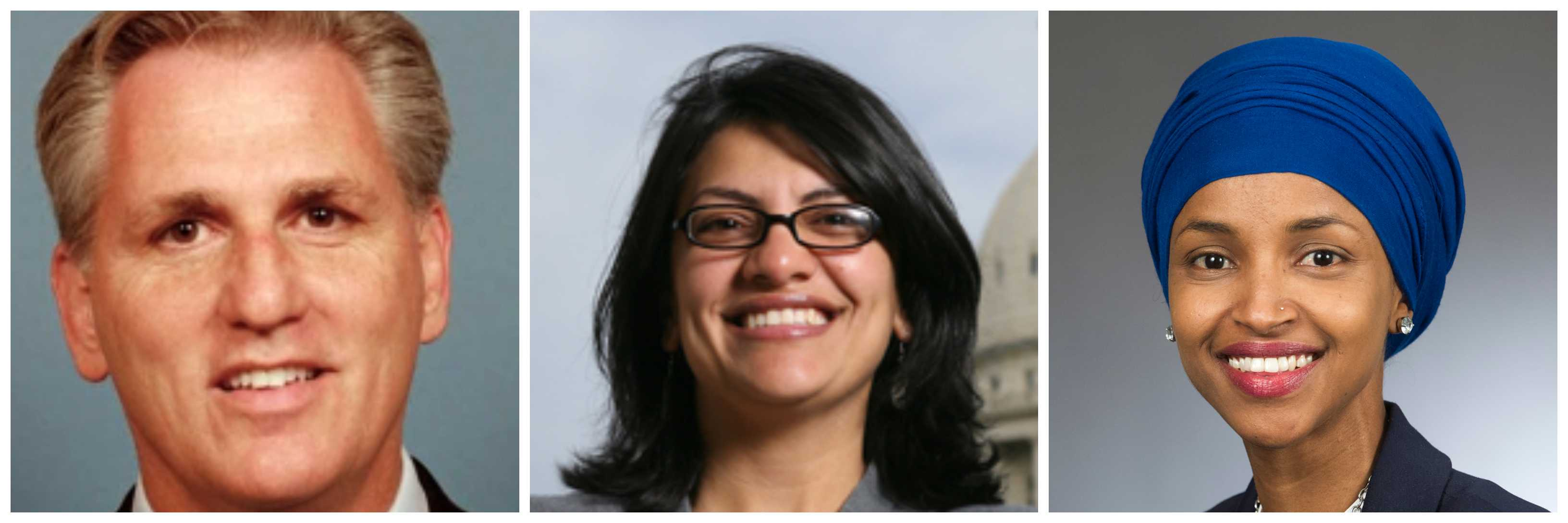 "Some American Jews have found it shocking that no action has been taken against Freshman Democrats Rashida Tlaib of Michigan and Ilhan Omar of Minnesota. The former accused American Jews of dual loyalty, an age-old canard. The latter suggested that Israel was evil and had ""hypnotized"" the world. While Democrats have been slow to condemn these expressions of antisemitism, a Republican leader in the U.S. House of Representatives has now pledged to take action, if the Democratic majority fails to do so. ""If they do not take action I think you'll see action from myself,"" said Kevin McCarthy of California. The minority leader, according to Capitol Hill reporters writing in a number of publications also said, ""This cannot sustain itself. It's unacceptable in this country."" McCarthy isn't only a man of words, you should know. He recently moved to isolate Rep. Steve King, R-Iowa, when King, long associated with white supremacists, wondered in an interview why terms like ""white supremacy"" carried a stigma. McCarthy has suggested that statements made by Tlaib and Ilhan are worse than King's, saying not only are they equal to that offending statement, but in terms of offense, even ""more so."" It's not clear, as of yet, what actions McCarthy might take against the two women."
