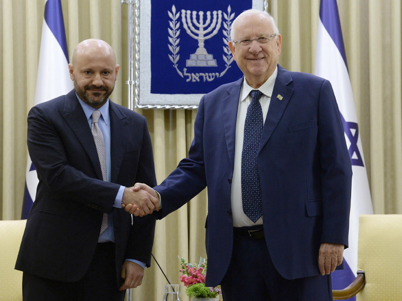 President Rivlin with Lebanese-born Swiss businessman Abdallah Chatila